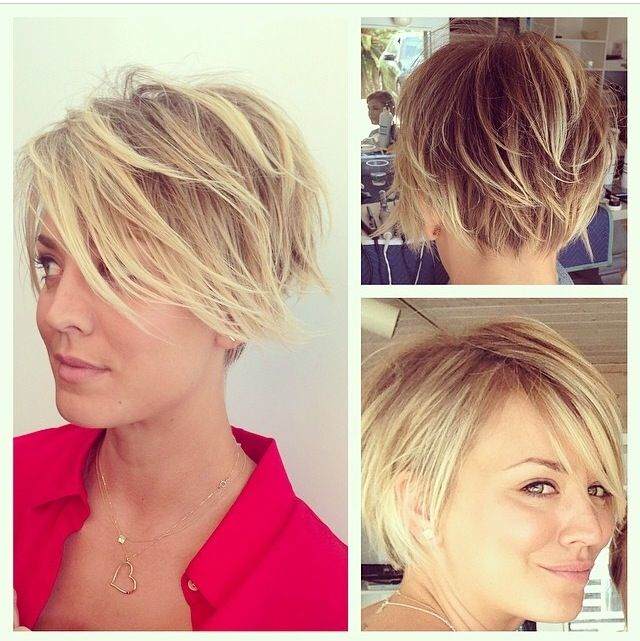 kaley cuocos new highlighted ombre pixie from all angles! back .