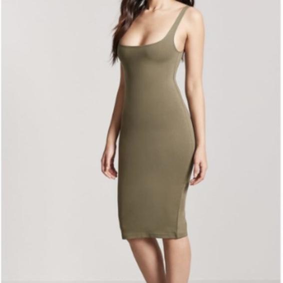 Zara TRF khaki bodycon midi dress - size S. Brand... - Dep