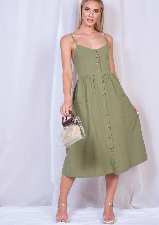 Front Button Through Strappy Midi Dress Khaki Green | Lily Lu