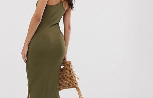 River Island bodycon midi dress in khaki | AS