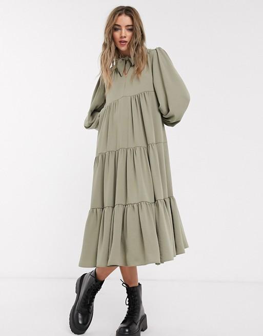 Topshop tiered midi dress in kha