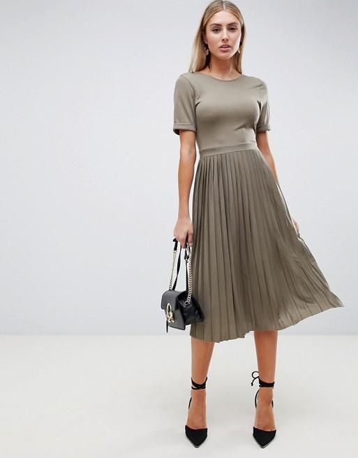 ASOS DESIGN pleated skirt midi dress in khaki | AS