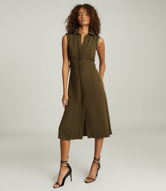 Effie Khaki Utility Shirt Midi Dress – REI