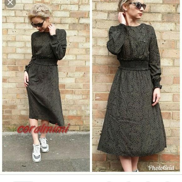 Zara Dresses | Khaki Leopard Animal Print Midi Dress | Poshma