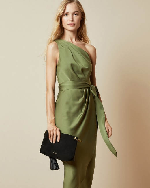 One shoulder drape midi dress - Khaki | Bodycon Dresses | Ted Bak