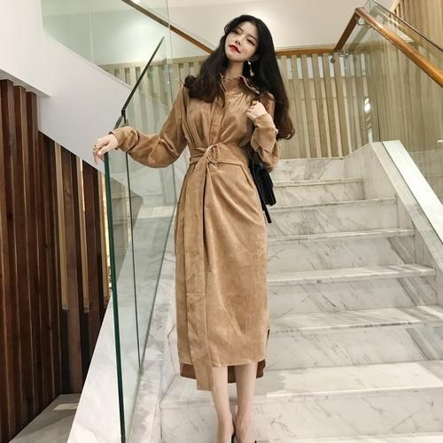 0] Autumn Fashion Purple Dress Women Korean Vintage Elegant .