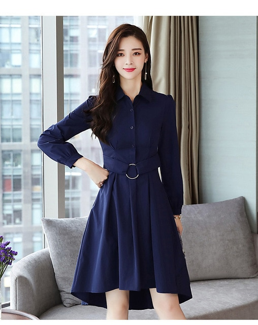 Korean Style Autumn Winter Women Dress Long Sleeved Office Lady Sh.