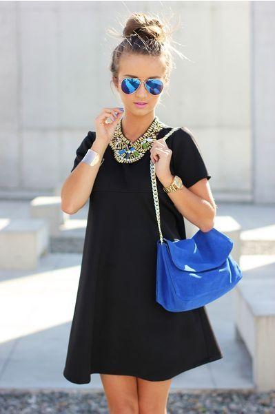 Women's Black Swing Dress, Blue Suede Crossbody Bag, Blue .