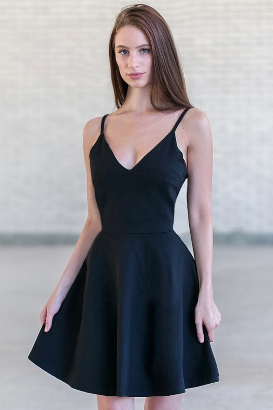 Little Black Dress, Cute Black A-Line Dress, Black Party Dress .
