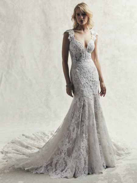 Fully Lace Cap Sleeve V-neck Fit And Flare Wedding Dress .