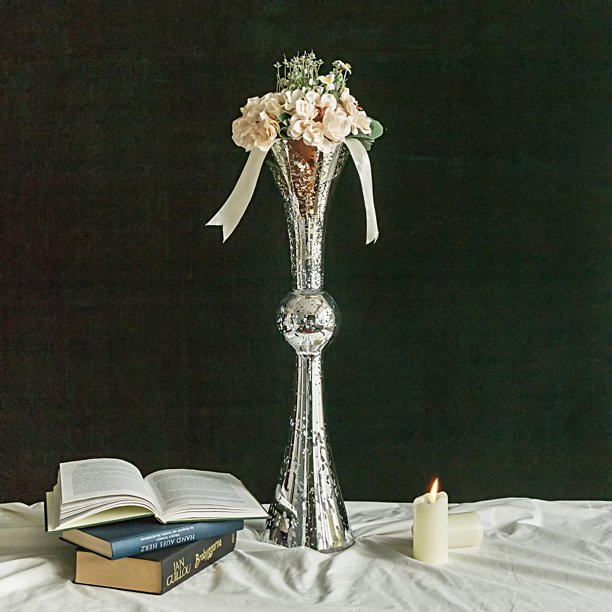 BalsaCircle 2 pcs 24-Inch tall Mercury Glass Trumpet Centerpiece .