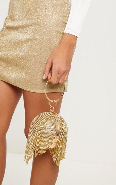 PrettyLittleThing Diamante Tassel Sphere Clutch | Holiday fashion .