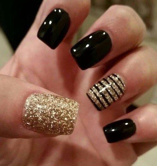Black And Gold Nails | Nail designs, Gold nails, Nai