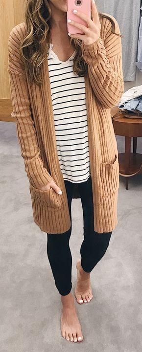 fall outfit ideas / beige cardigan + stripes | Fashion, Fall .