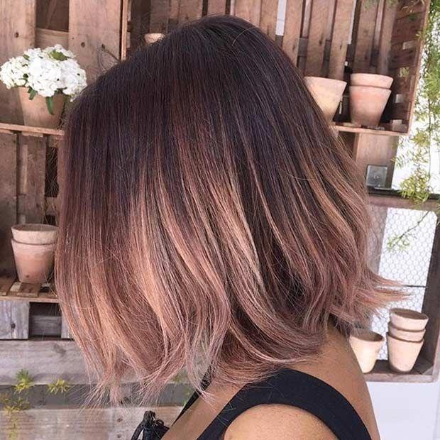 Pink Lob Inspiration | Balayage brunette, Rose gold hair brunette .