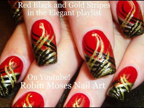 Nail Art | DIY Red Nails with Stripes! Black and Gold Nail Design .