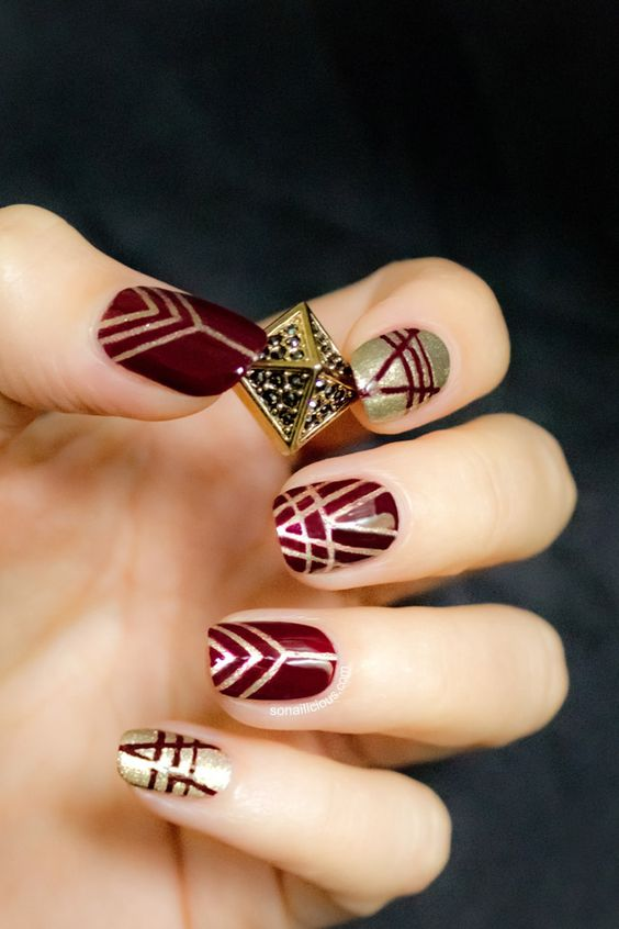 Top 40 beautiful Red and Gold Nail A