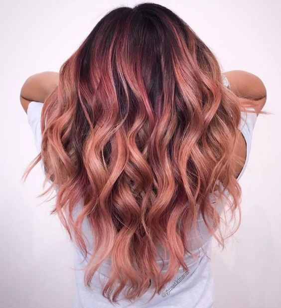 Trends 2018 - Gold Rose Hair Color : Rose Gold Balayage Hair #Rose .