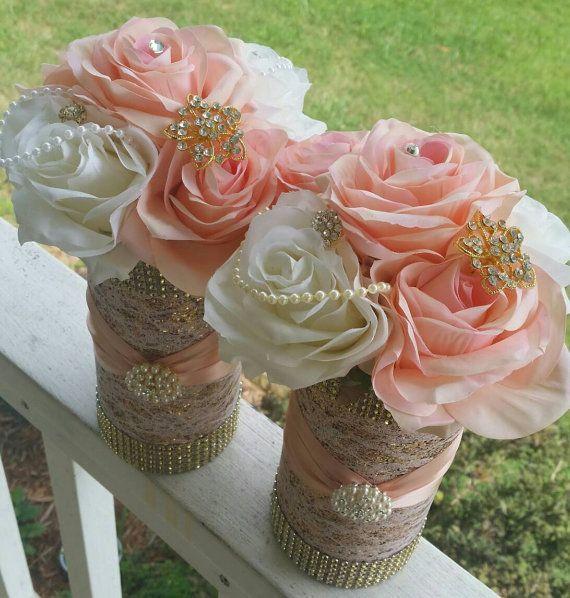 Rose Gold Quinceanera Decorations | Rose gold centerpiece, Rose .