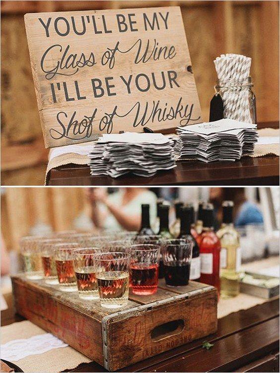 rustic country wedding bar details / http://www.deerpearlflowers .
