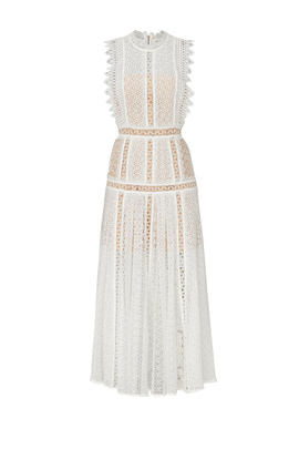 White Lace Panel Midi Dress by Self-portrait for $65 - $80 | Rent .
