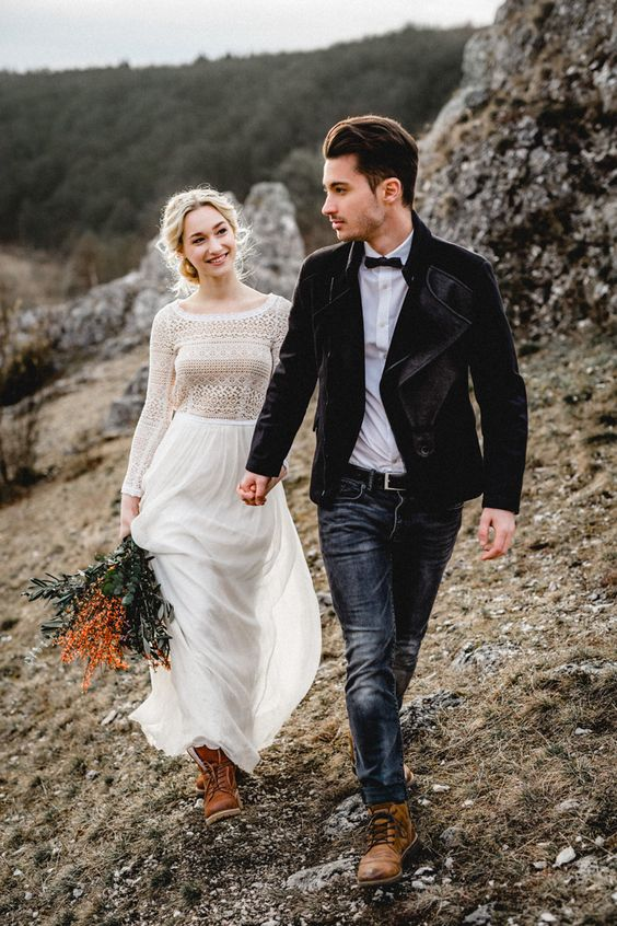 Picture Of a boho inspired wedding dress with a scoop neckline, a .