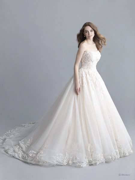 Strapless Scoop Neckline Sparkle Tulle Ball Gown Wedding Dress .