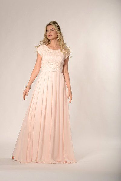 A modest lace bodice with a scoop neckline and cap petal sleeves .