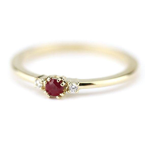diamond ring, ruby ring, simple engagement ring, minimalist .