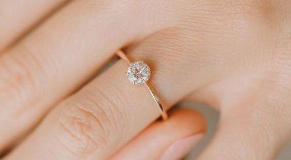 simple yellow gold diamond wedding engagement ring in 2020 .