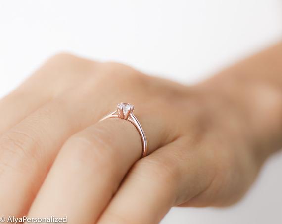 Solitaire Diamond Engagement Ring Simple Engagement Ring | Et
