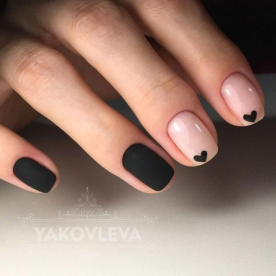 25 Lovely and Simple Nail Designs for Short Nails | Heart nails .