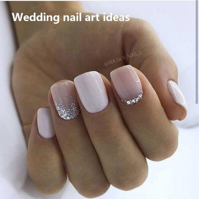 35 Simple Ideas for Wedding Nails Design #nailideas | Glitter gel .