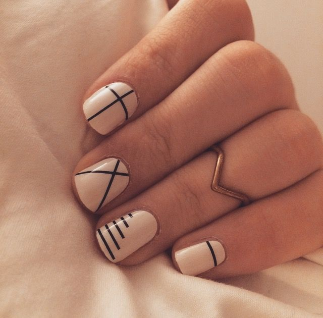 Simple Nail Design | Lines on nails, Simple fall nails, Geometric na