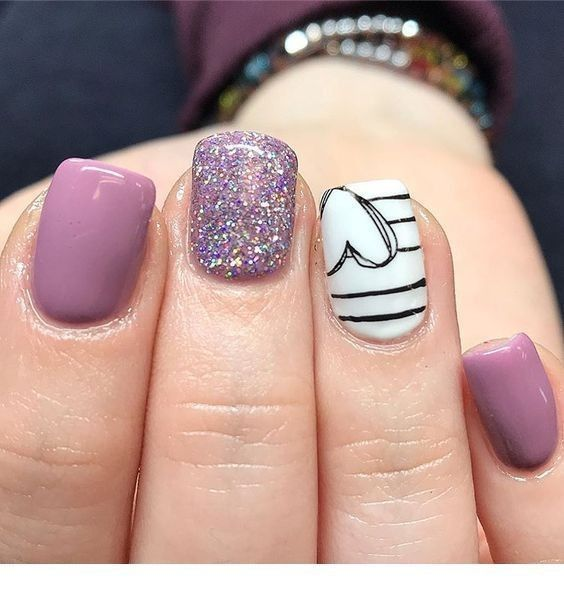 Pin by Lauren Paul on Nails | Heart nail designs, Purple nails .