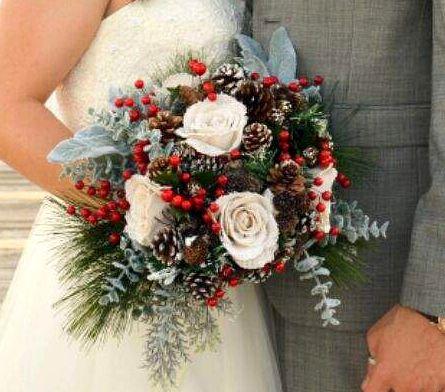 Natural, Burlap, Pine cones, Berries Stunning Bridal Bouquet .