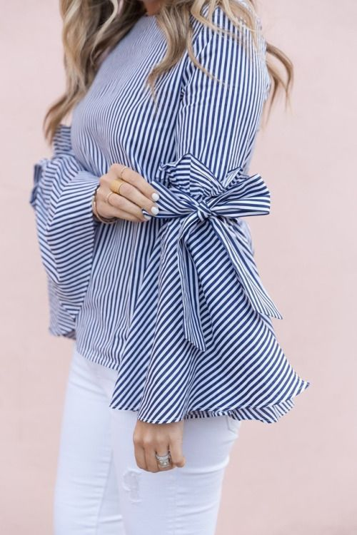 101 Style Tips To Wear A Striped Outfits | Sleeves designs for .