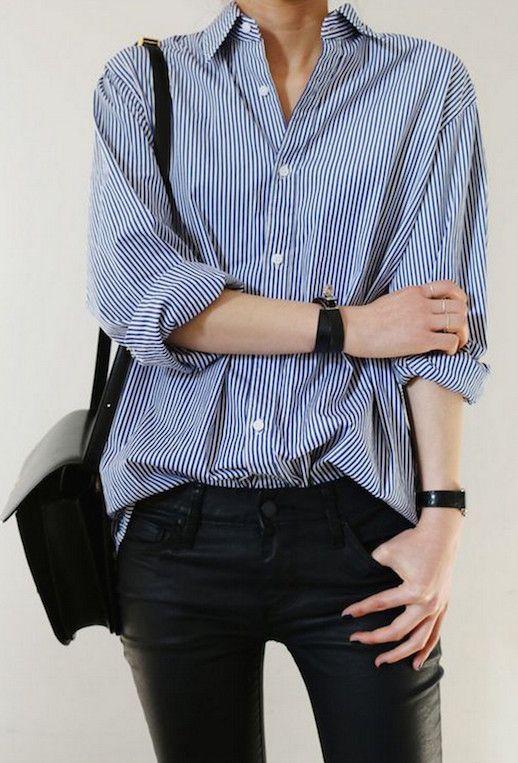 25 Ways To Wear A Striped Button-Down Shirt | Fashion, Trendy .