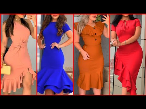 very attractive stylish and fabulous marmaid Styles plain bodycon .