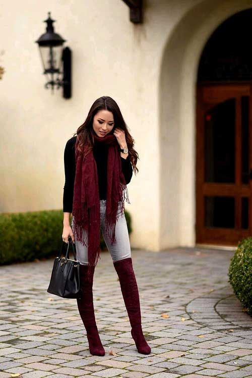 Daily outfit ideas for trendy woman | Burgundy boots outfit .