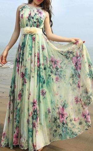 Summer Floral Long Beach Maxi Dress Lightweight Sundress Plus Size .