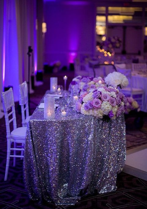 120 Adorable Sweetheart Table Decor Ideas | Purple wedding .