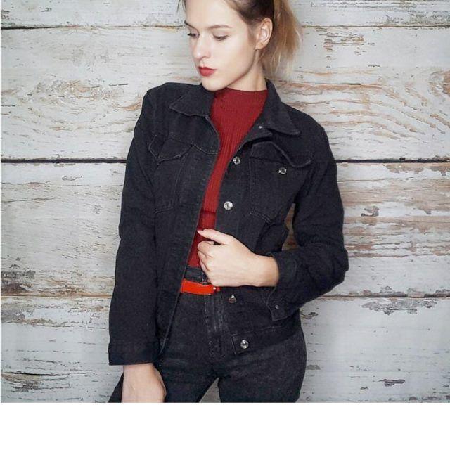 Casual Black Jean Denim Coats Jacket | Denim coat, Black jeans .