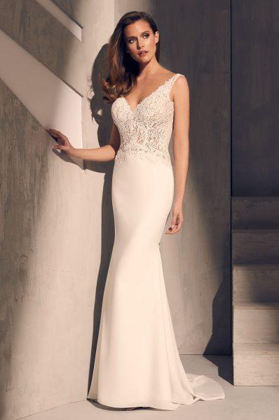 Sleeveless V-neck Lace Bodice Crepe Skirt Fit And Flare Wedding .