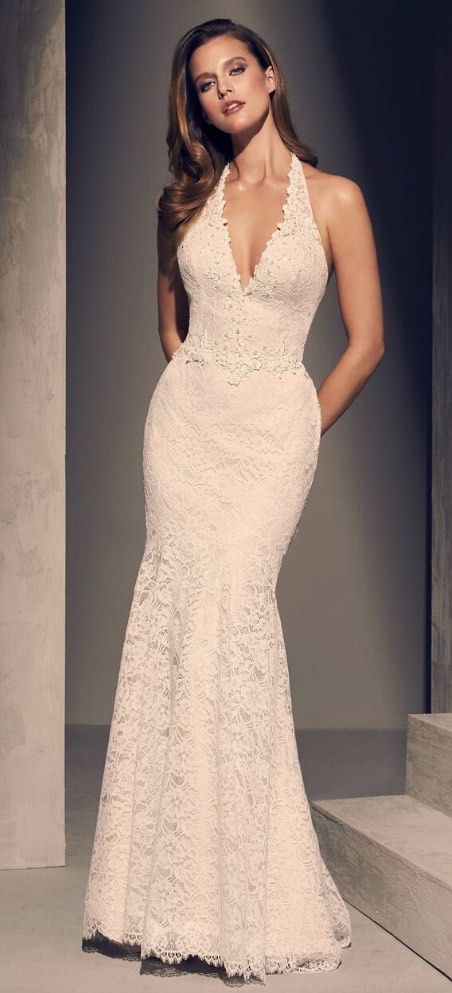 Wedding Dress Inspiration - Mikaella | Halter wedding dress .