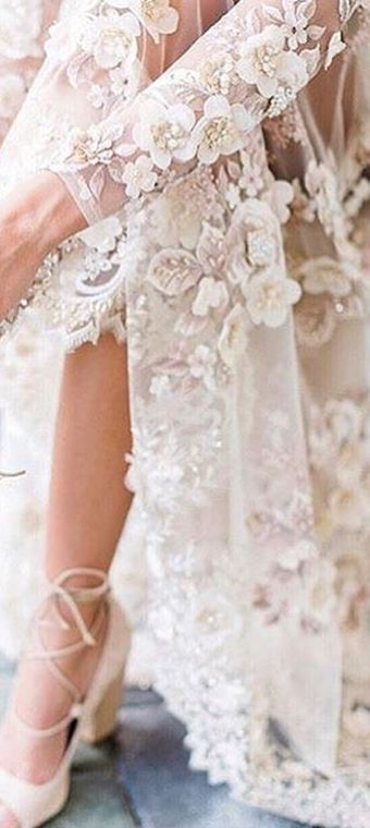 Lace applique Gossamer gown | long sleeve lace | Wedding dress .