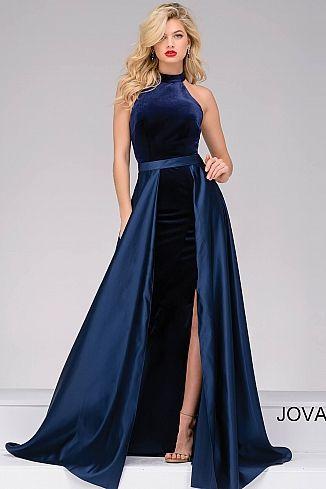Jovani Dress 45182 | Jovani 45182 Navy long sleeveless high neck .