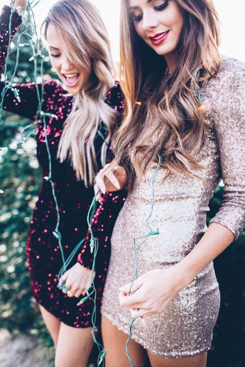 New year holidays party outfit // short glitter dress fashion .
