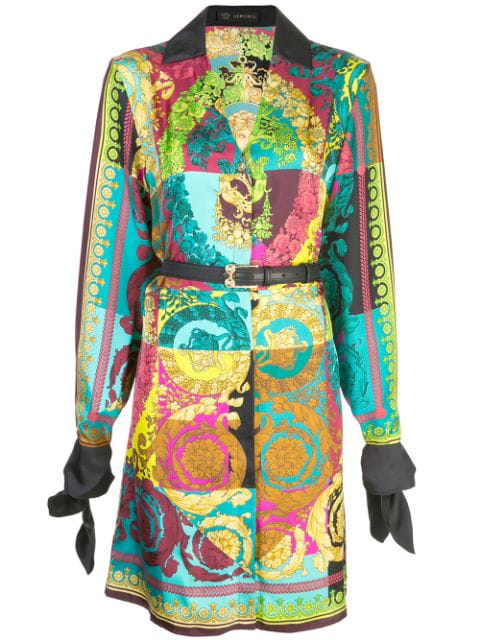Versace Multicolor Women's Voyage Barocco Printed Shirt Dress In .