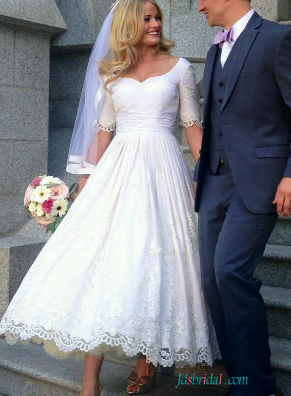 H1557 Vintage half sleeved lace tea length wedding dress